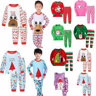 1-7YS Boys Girls Kids Christmas Xmas Santa PJs Pyjamas Outfit Long Cotton PJS UK 7