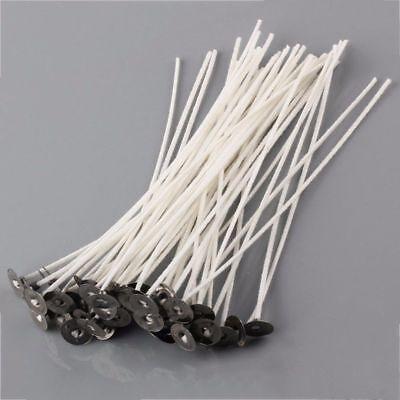 50 Pcs 15cm Kerze Dochte Baumwolle Kern gewachst Docht mit Metall Erhalter DIY 7