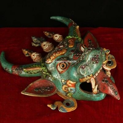 Copper Inlaid Coral Turquoise Gem Ox Oxen Cow Bull Cattle Head Mask Masks Statue 9