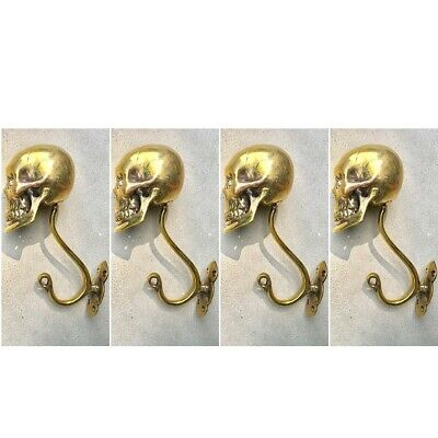 """4 Large SKULL HOOKS Polished hollow real Brass old style day the dead 6 """"long B 11"""