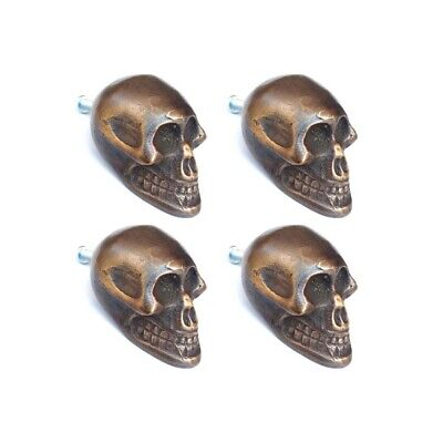 "4 small Skull hardware cabinet Drawer 2cm Gothic Finger Pull Solid Brass 1.3/4""B 4"