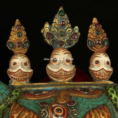 Copper Inlaid Coral Turquoise Gem Ox Oxen Cow Bull Cattle Head Mask Masks Statue 2