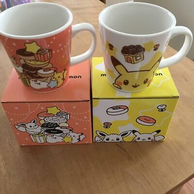 Pokemon Mister Donut Limited Exclusive Pikachu Eevee Christmas Mug Cup Lot 2 Set