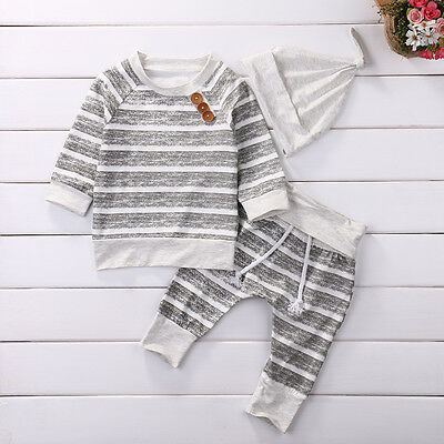 US Newborn Baby Boys Girls Top T shirt+Pants+Hat Striped Outfits Cotton Clothes