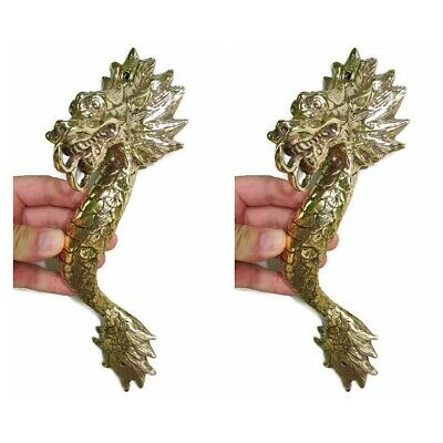 """2 Dragon door pull 30 cm POLISHED brass vintage old style house handle 12"""" B 2"""