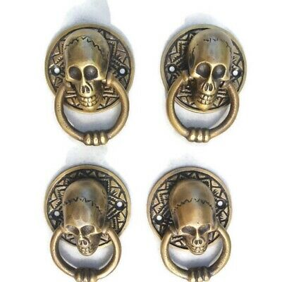 "4 small SKULL head handle DOOR PULL ring natural cast BRASS old style 5 cm 2"" 10"