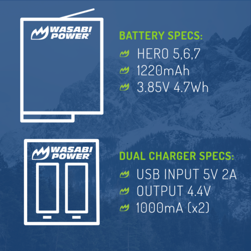 Wasabi Power Battery (2-Pack) and Dual Charger for GoPro HERO7 Black, HERO6 7