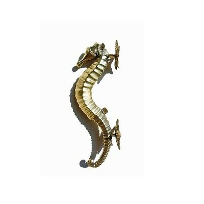 """SEAHORSE STAR 26cm brass door polished old style PULL grab handle 10"""" gate B 11"""