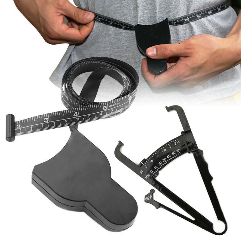 2pc Body Fat Caliper & Mass Measuring Tape Tester Skinfold Fitness Weight Loss 2