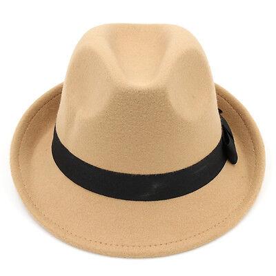 1d515b75 ... Men Women Kids Children Boys Fedora Hats Trilby Caps Jazz Panama Sunhat  Wool 3