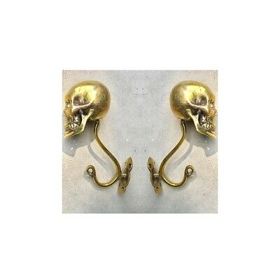 """4 Large SKULL HOOKS Polished hollow real Brass old style day the dead 6 """"long B 3"""