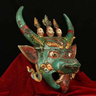 Copper Inlaid Coral Turquoise Gem Ox Oxen Cow Bull Cattle Head Mask Masks Statue 7