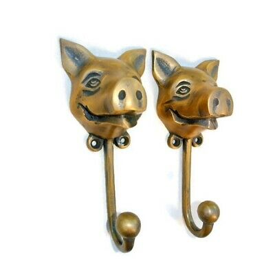 """4 heavy PIG HOOK WALL MOUNTED COAT old style solid brass BAG ANIMAL 6"""" HANGER B 2"""