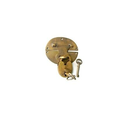 """heavy HASP & STAPLE Padlock and KEY included WORKS 5"""" OVAL catch latch B 8"""
