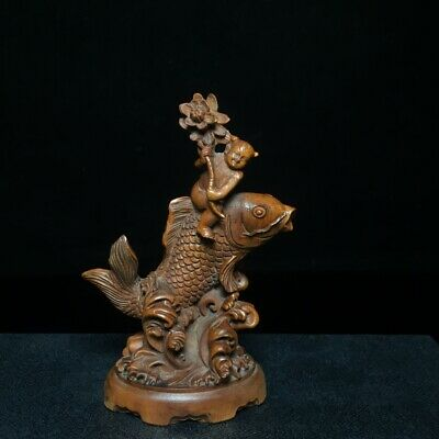 Collectable Old Boxwood Hand-Carved Bloomy Lotus & Fairchild & Fish Decor Statue 8