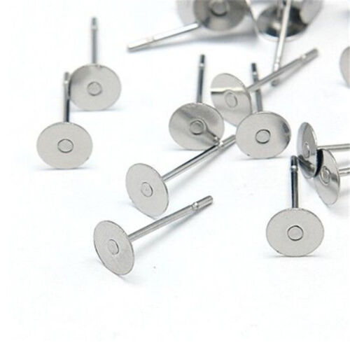 400pcs Earring Stud Posts 8mm Pads and backs Hypoallergenic Surgical Steel AU 5
