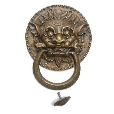 "large Solid foo dragon heavy pure Brass Door Knocker 7"" Chinese dog Head ring B 5"
