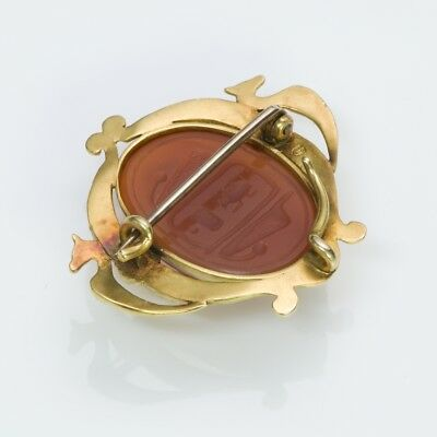 Antique Egyptian Revival Gold Carnelian Enamel Scarab Beetle Brooch Pendant 5
