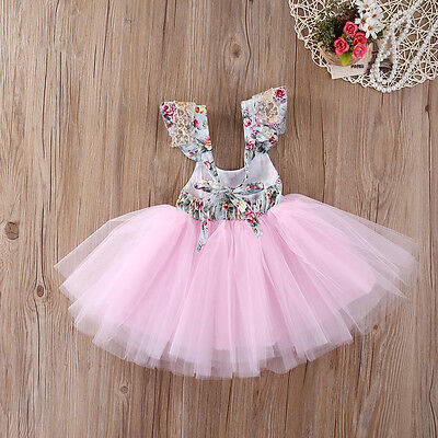 Elegant Baby Girls Floral Tulle Dress Party Gown Formal Bridesmaid Dresses XMAS