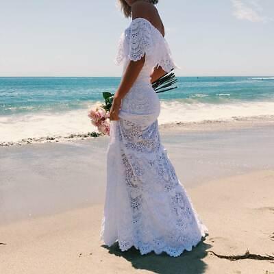Boho Off Shoulder Wedding Dress Lace White Beach Gown Party Evening Long Dresses 2