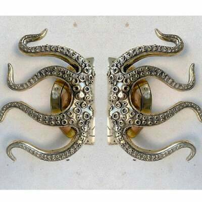 """pair OCTOPUS Solid 100% Brass hand POLISHED Door PULL HANDLE 9"""" high aged B 12"""