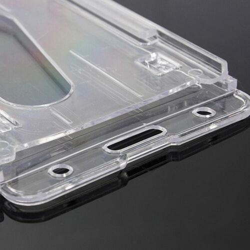 5x Plastic Badge ID Holder Double Side Card Vertical Hard Multi Transparent AU 7