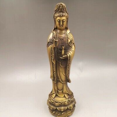 """13.3"""" Chinese Antique Old copper to create wealth lucky Guanyin Home decoration 2"""