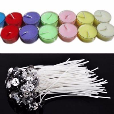 50 Pcs 15cm Kerze Dochte Baumwolle Kern gewachst Docht mit Metall Erhalter DIY 4