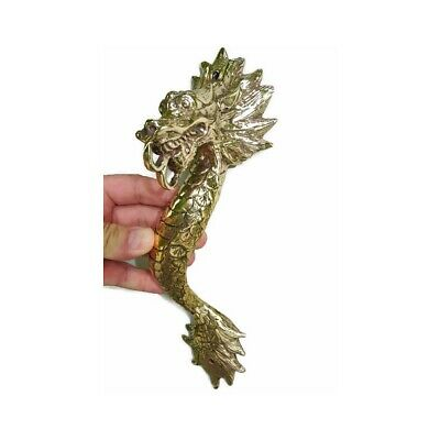 "Dragon door pull 30 cm POLISHED brass vintage old style house handle 12"" B 11"