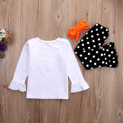 Toddler Kids Girls Christmas Snowman Olaf Tops Dot Pants Outfits Set Clothes 8