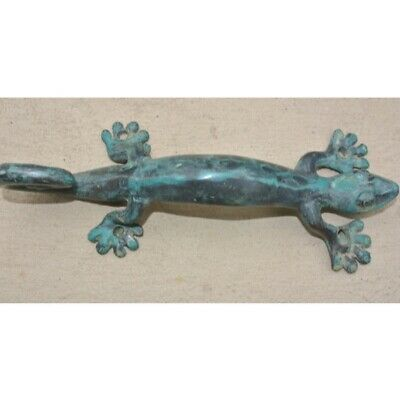 "3 small GECKO DOOR PULLS 21cm green brass PLAIN old style house handle 8.1/2"" B 6"
