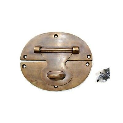 "4 large heavy HASP & STAPLE 5"" OVAL catch latch box door solid brass B 9"