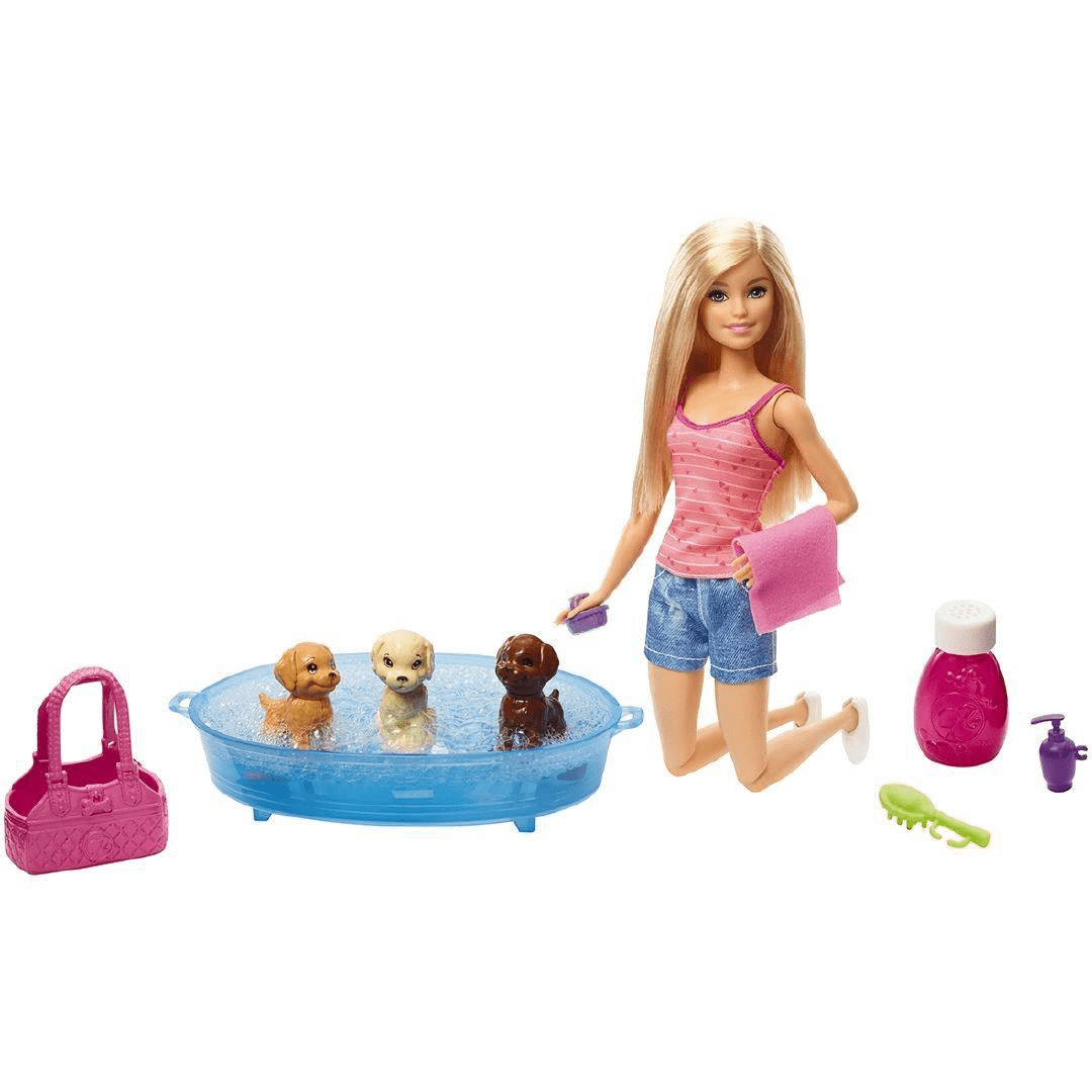 Barbie Doll GDJ37 Blonde and Playset with 3 Puppies and Accessories 2