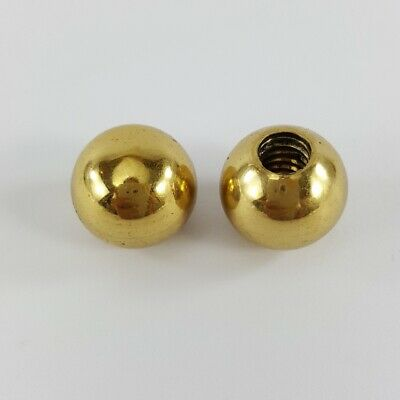 4 small solid Brass BED ball knobs threaded old style 15 mm polished 2