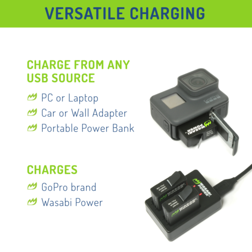 Wasabi Power Battery (2-Pack) and Dual Charger for GoPro HERO7 Black, HERO6 6