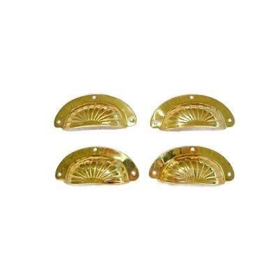"8 shell handles PULL polished Brass PULL  knob kitchen  pressed 4"" screws B 8"