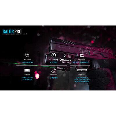 Olight Baldr Pro 1350 Lumen Pistol Flashlight with Green Laser Sight (Tan) 6
