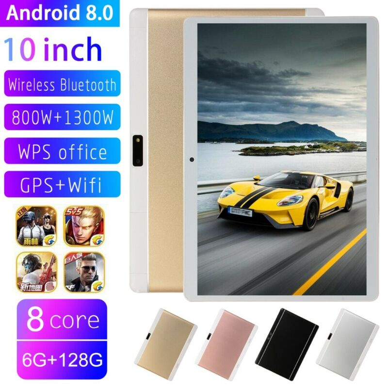 10 Inch Tablet PC Android 8.0 6+128GB 8 Core WIFI Dual SIM Camera GPS bluetooth 4