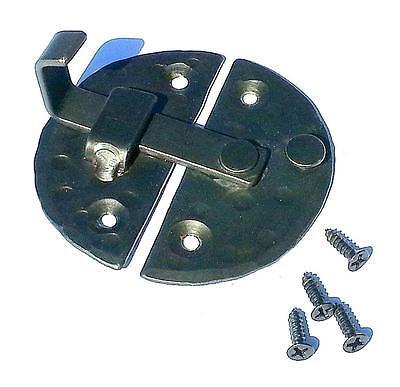 "HANDMADE 2.9"" ROUND CABINET DOOR LATCH Black Antique Iron Cupboard  Decor Lock 6"