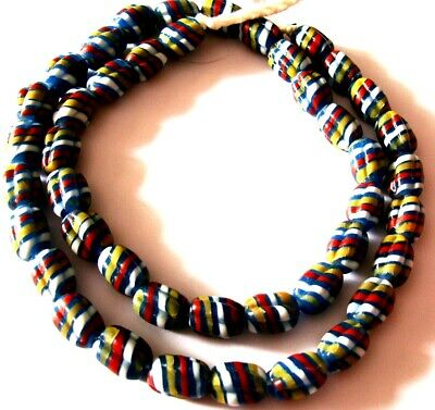 """Rare 23"""" 43 Bead Ancient Phoenician Spiral Spiral Colorful Opaque Glass Necklace 10"""