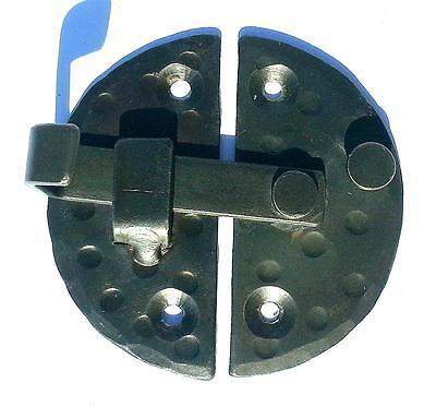 "HANDMADE 2.9"" ROUND CABINET DOOR LATCH Black Antique Iron Cupboard  Decor Lock 5"