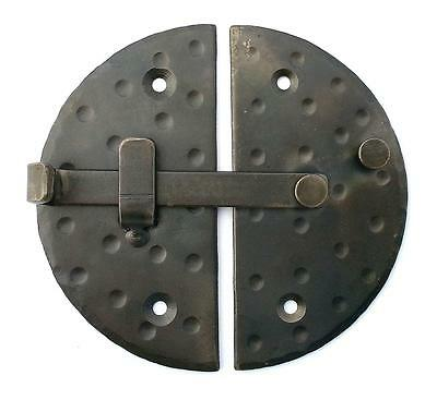 "HANDMADE 4.7"" BIG ROUND CABINET DOOR LATCH Black Antique Iron Cupboard Lock 4"
