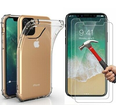 Case + 2 Screen Protector iPhone 11 Pro Max XR Case 6S 7 8 Plus X XS Cover Clear 11