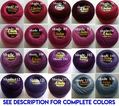 1 ANCHOR Pearl Cotton 8 Crochet Embroidery Thread Ball 1 Flat/Free Postage on 10 3