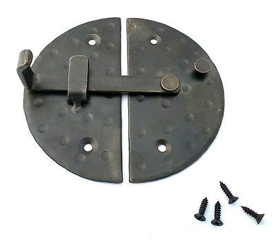 "HANDMADE 4.7"" BIG ROUND CABINET DOOR LATCH Black Antique Iron Cupboard Lock 6"