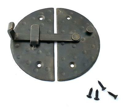 "HANDMADE 4.7"" BIG ROUND CABINET DOOR LATCH Black Antique Iron Cupboard Lock 6"