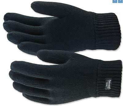 Thermal Knitted Acrylic Glove 3M Thinsulate Lined Black Knit Warm Winter Work 5