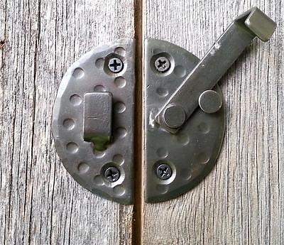 "HANDMADE 2.9"" ROUND CABINET DOOR LATCH Black Antique Iron Cupboard  Decor Lock 4"