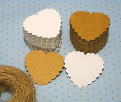 10/25/50/100 Kraft Paper Gift Tags Scallop Label Wedding Blank + Strings *UK* 3