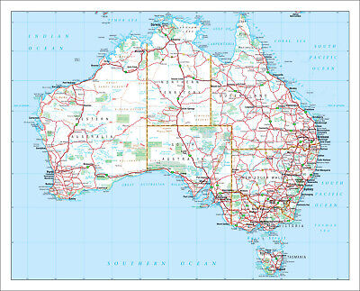 New Large Detailed Map Of Aus Australian Roads Atlas Wall Print Premium Poster 2